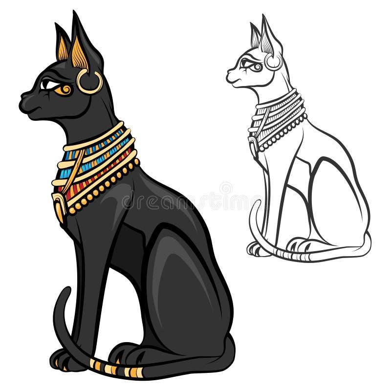 Egypt cat goddess bastet vector. Egypt cat goddess bastet. Egyptian god, ancient figurine sitting, black statue feline, souvenir statuette, vector illustration vector illustration