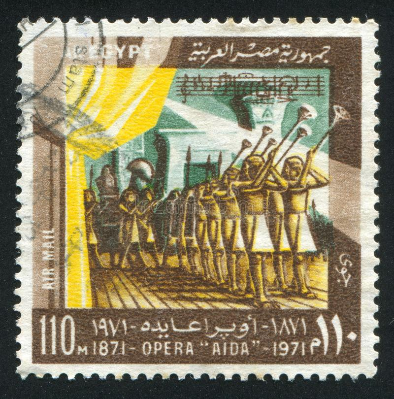 Opera Aida. EGYPT - CIRCA 1971: stamp printed by Egypt, shows Scene, Opera Aida, circa 1971 royalty free stock photos