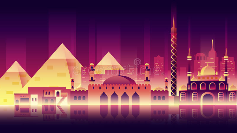Egypt city night neon style architecture buildings town country travel. Stock vector illustration background city night neon style architecture buildings and stock illustration