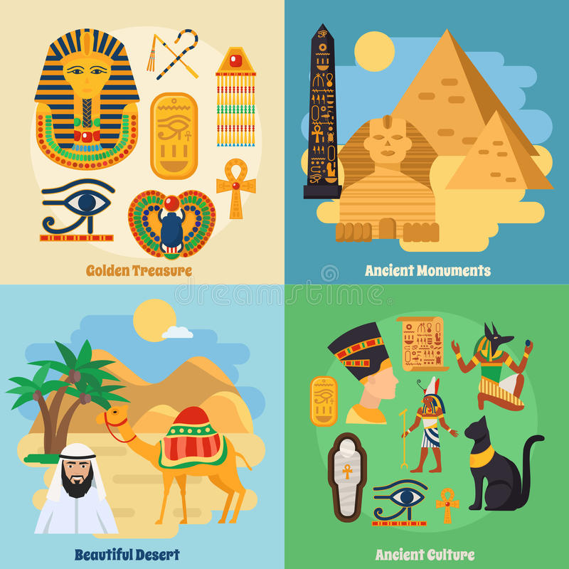 Egypt Concept Icons Set. With ancient culture symbols flat isolated vector illustration royalty free illustration