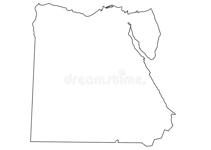 Egypt country map on white background cartography   Africa travel travelling. Egypt country map on white background cartography   Africa travel royalty free illustration