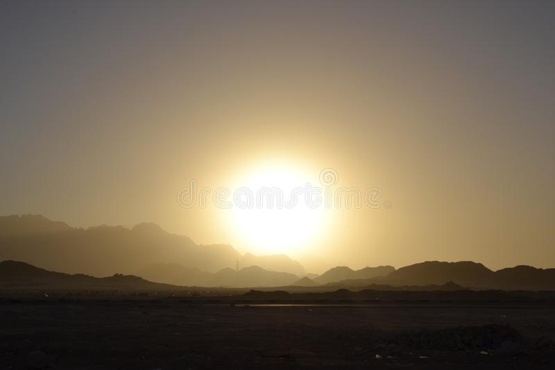 Egypt, desert sunrise mountains stock photography