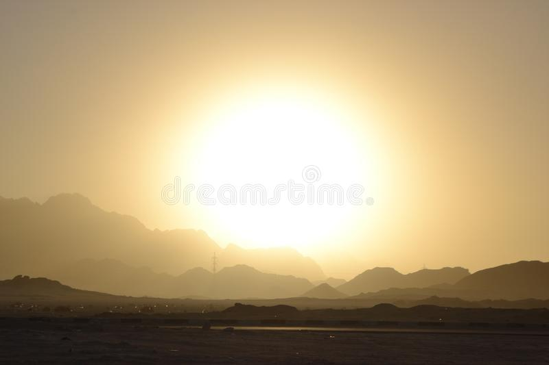 Egypt, desert sunrise mountains royalty free stock photography