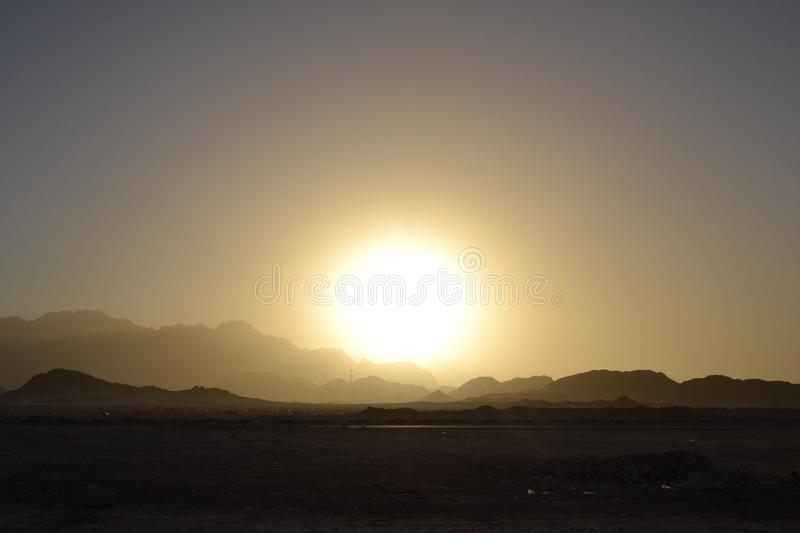 Egypt, desert sunrise mountains royalty free stock photo