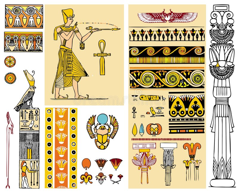 Egypt design elements stock illustration