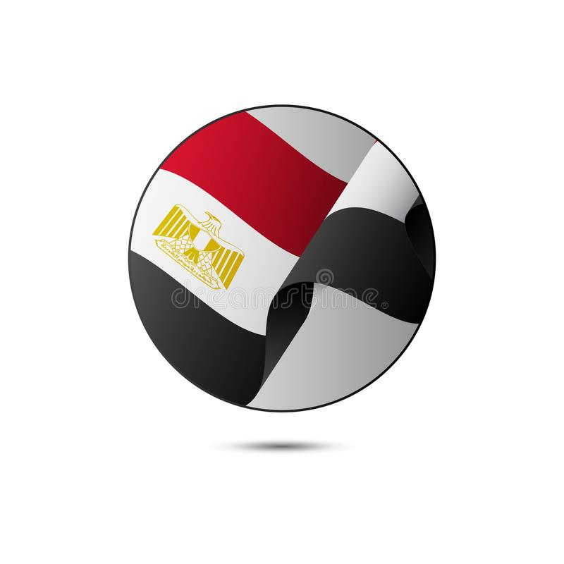 Egypt flag button with shadow on a white background. Vector illustration. vector illustration