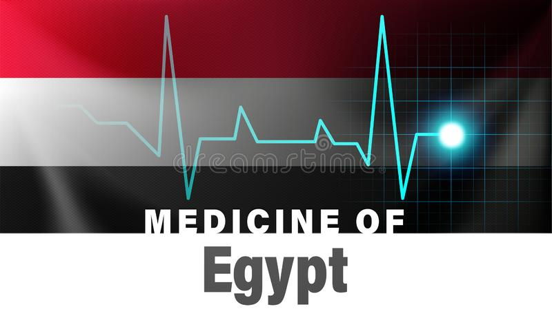 Egypt flag and heartbeat line illustration. Medicine of Egypt with country name vector illustration