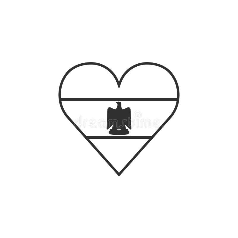 Egypt flag icon in a heart shape in black outline flat design vector illustration