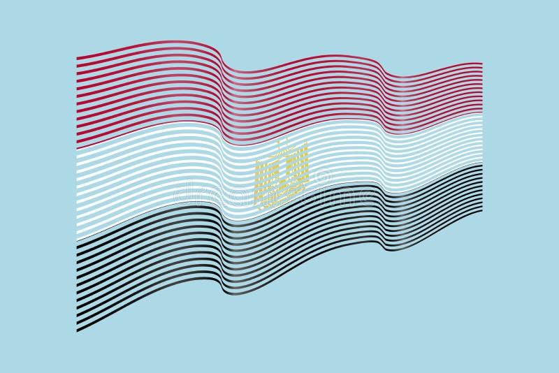 Egypt flag vector on blue background. Wave stripes flag, line il stock illustration
