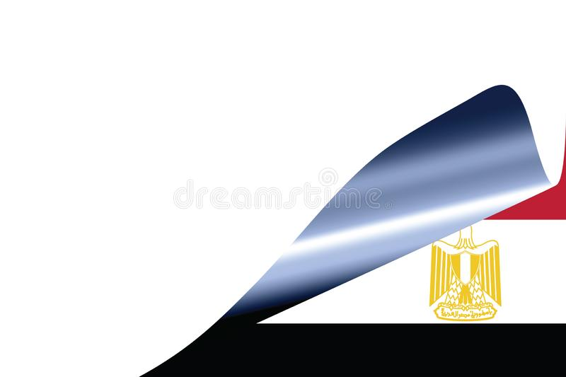 Egypt flag on white. With curled page royalty free illustration