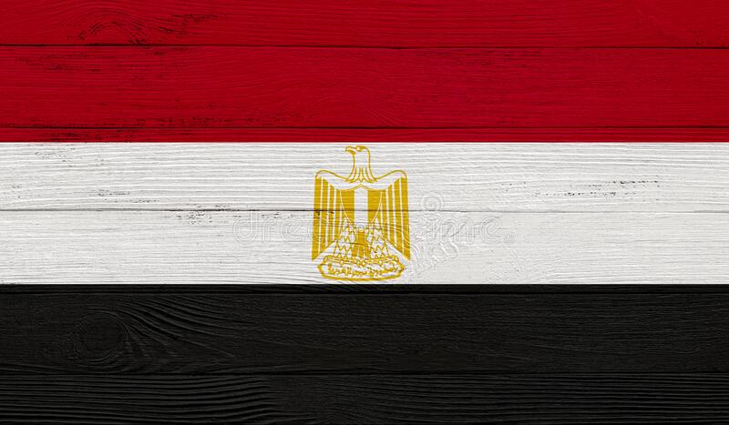 Egypt flag on a wooden texture. Wood texture, planks Wooden texture background flag. Flag painted with paints on wood royalty free stock images