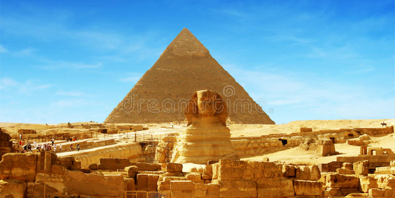 egypt Giza wielki panoramy ostrosłup obraz stock