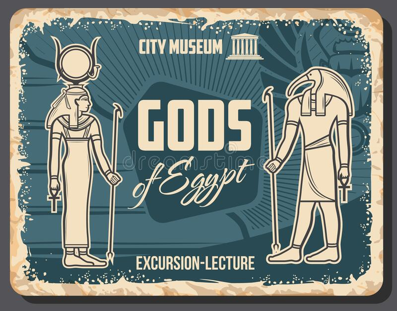 Egypt Gods vector poster with Thoth and Hathor. Egypt Gods Thoth deity and Hathor goddess vector retro poster. Excursion lecture, vintage ancient Egyptian gods vector illustration