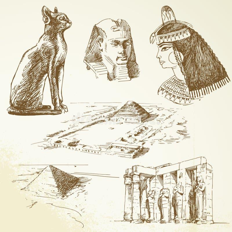 Download Egypt - hand drawn set stock vector. Illustration of pyramids - 25891552