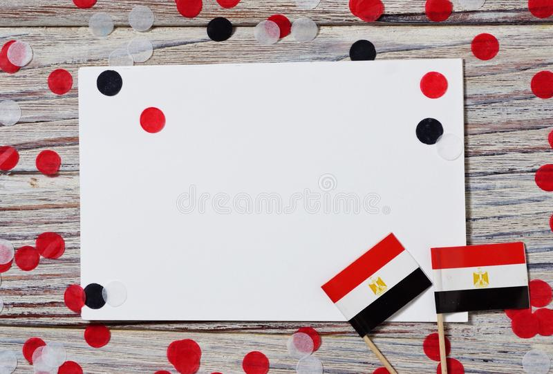 National day of Egypt on 23 July. revolution day. the concept of veterans Day or memorial Day . Egypt glory to the heroes of the. Egypt hanging flag for honour royalty free stock image
