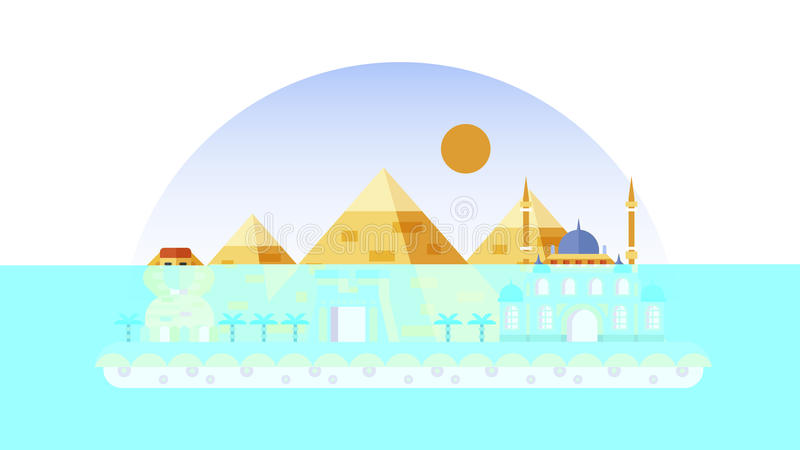 Egypt icon in flat style. Stock vector illustration background icon in flat style architecture buildings and monuments town city country travel Egypt, Egyptian stock illustration