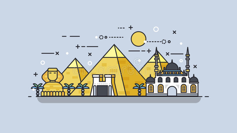 Egypt icon linear style. Stock vector illustration background icon linear style architecture buildings and monuments town city country travel Egypt, Egyptian royalty free illustration