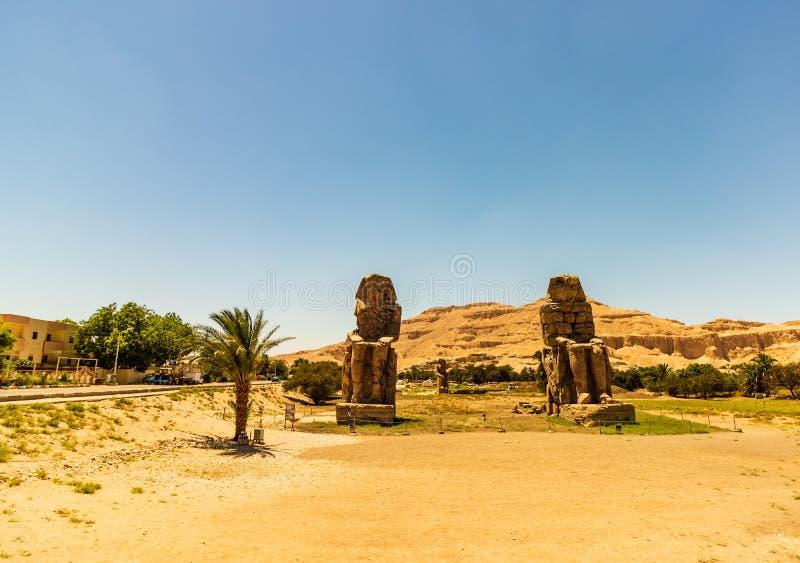Egypt Luxor Os Colossi de Memnon foto de stock