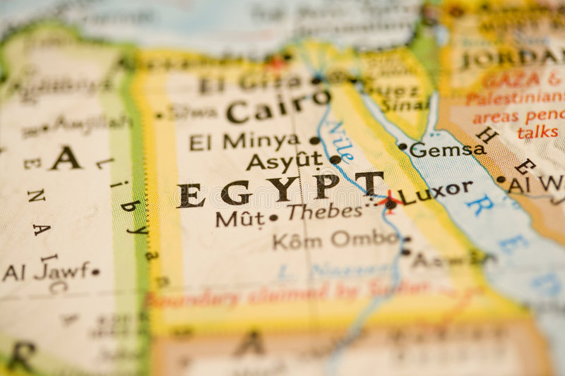 Egypt Map. Close-up of Egypt Map royalty free stock photo