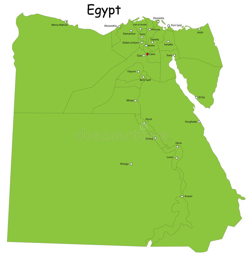 Egypt map. Designed in illustration with regions colored in green colors. Vector illustration