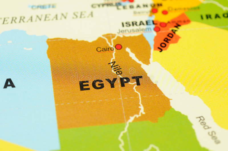 Egypt on map. Close up of Egypt on map royalty free stock photos