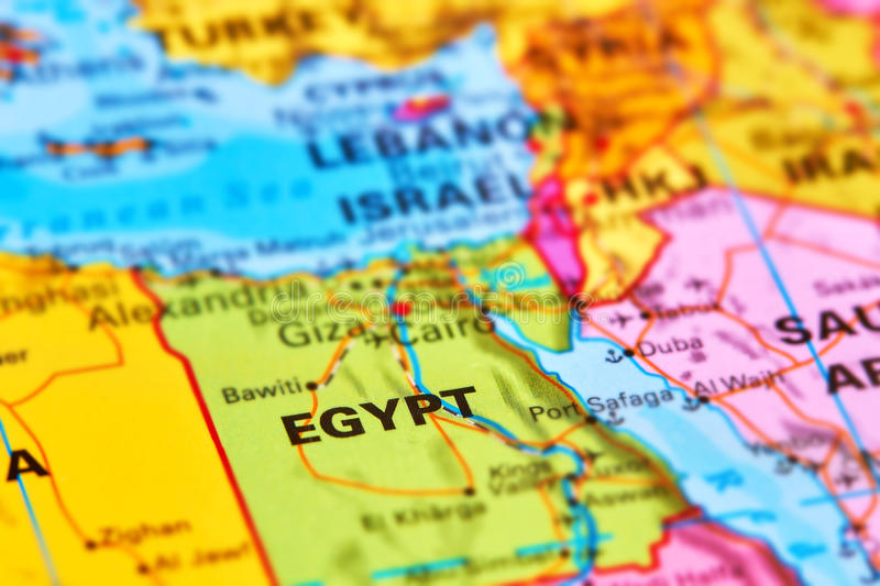Egypt on the Map. Egypt Country in Africa on the World Map stock photos