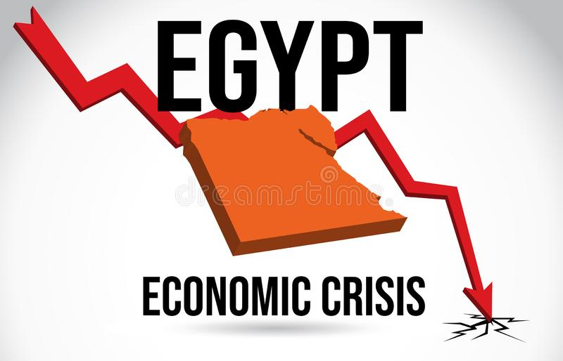Egypt Map Financial Crisis Economic Collapse Market Crash Global Meltdown Vector. Illustration vector illustration