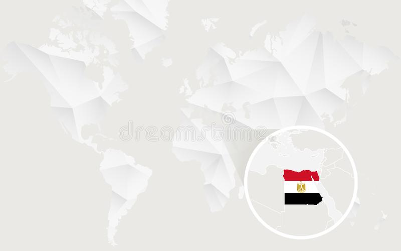 Egypt Map With Flag In Contour On White Polygonal World Map ...