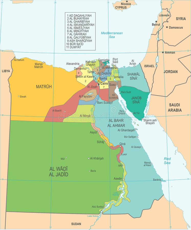 Egypt Map Detaild Vector Illustration Stock Illustration