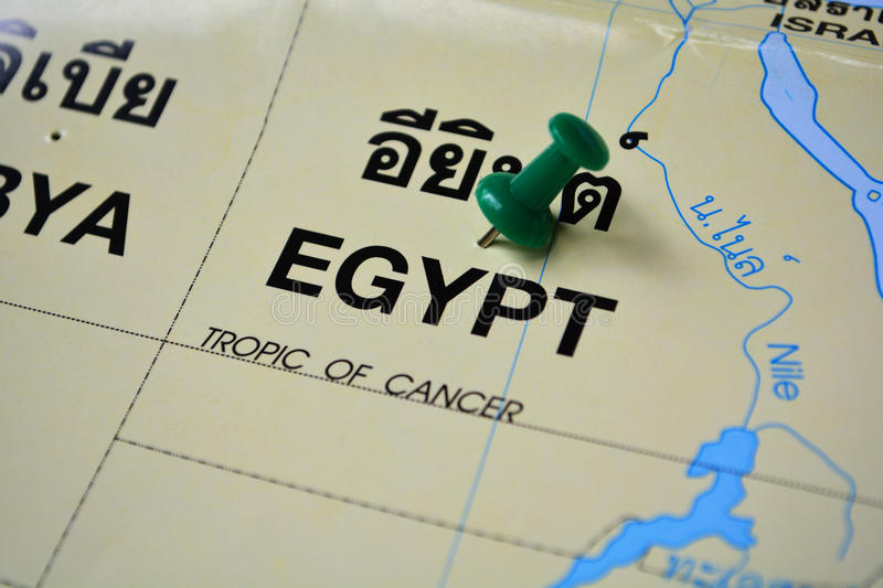 Egypt map. Macro shot of egypt map with push pin stock image