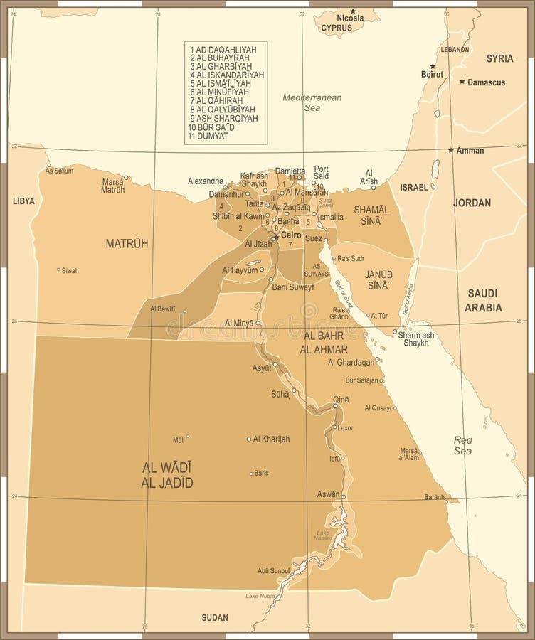 Egypt Map Vintage Detailed Vector Illustration Stock Illustration