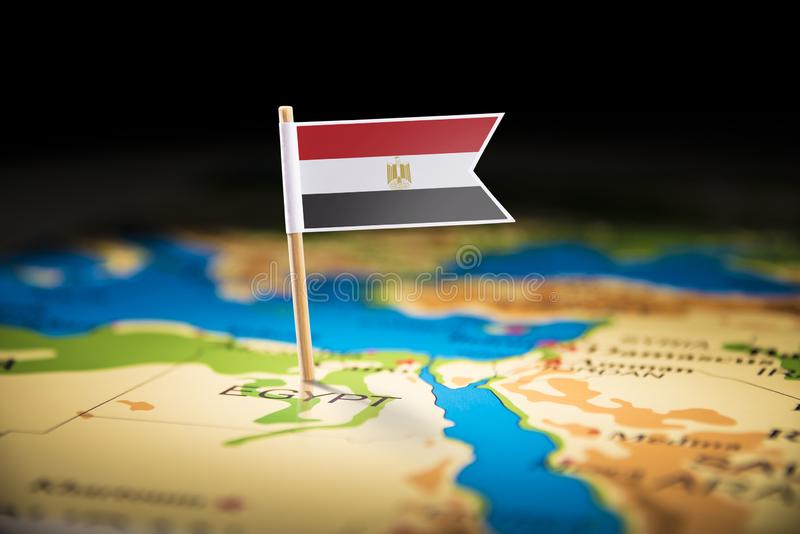 Egypt marked with a flag on the map.  stock photos