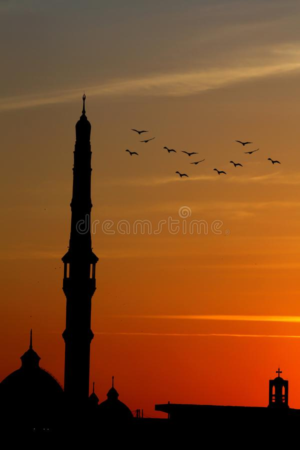 Free Egypt Mosque With Church Peace In Cairo In Africa Stock Photography - 106076862