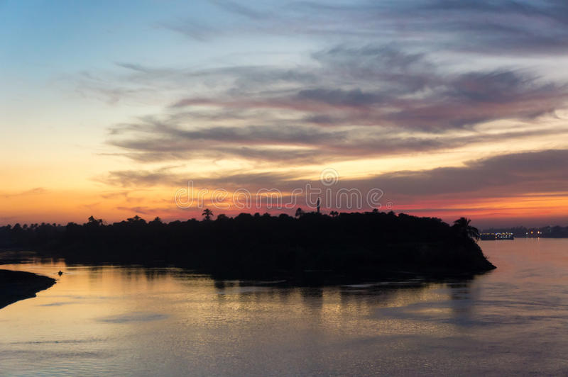 Egypt Nile river cruise, a beautiful sunset stock photos