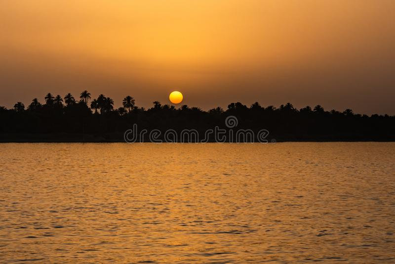Egypt Nile river view at sunset with tropical palm tree silhouette and distant colorful sun going down stock images