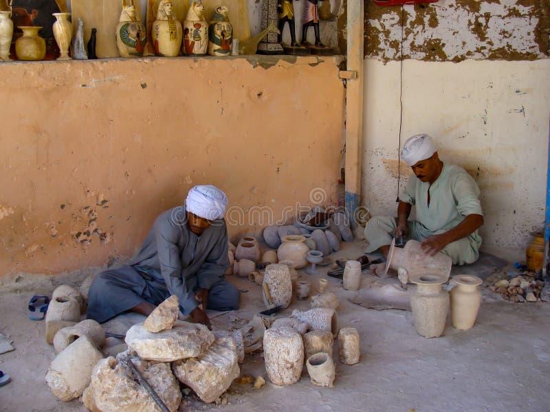 Egypt - October 20, 2009: Souvenir workshop royalty free stock photography