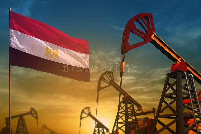 Egypt oil industry concept. Industrial illustration - Egypt flag and oil wells against the blue and yellow sunset sky background. Egypt oil industry concept stock photos