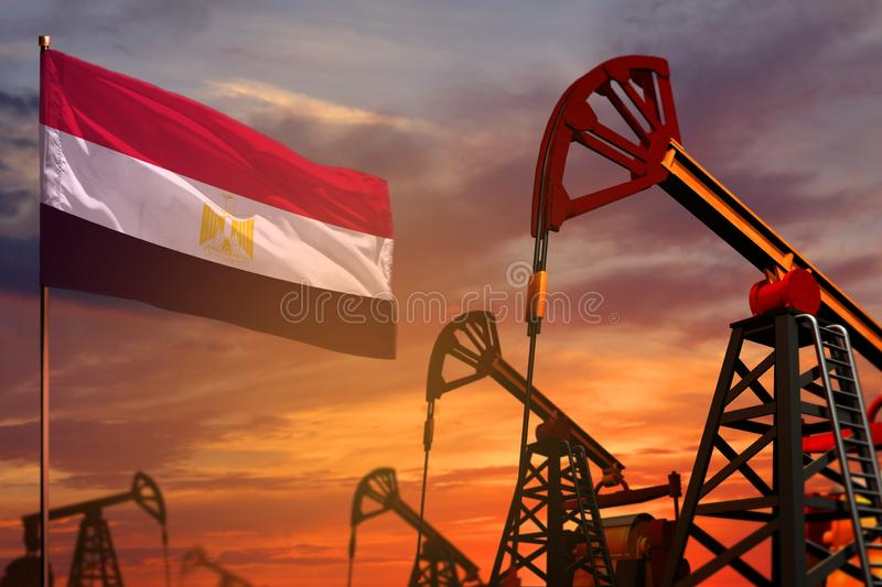 Egypt oil industry concept. Industrial illustration - Egypt flag and oil wells with the red and blue sunset or sunrise sky royalty free illustration