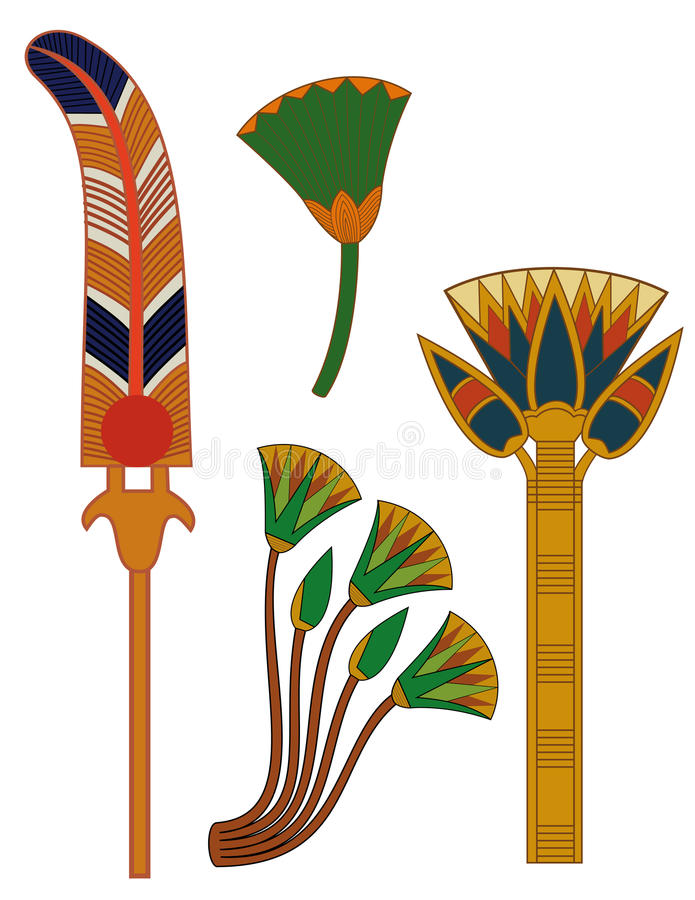 Egypt ornament& lotus flowers stock image