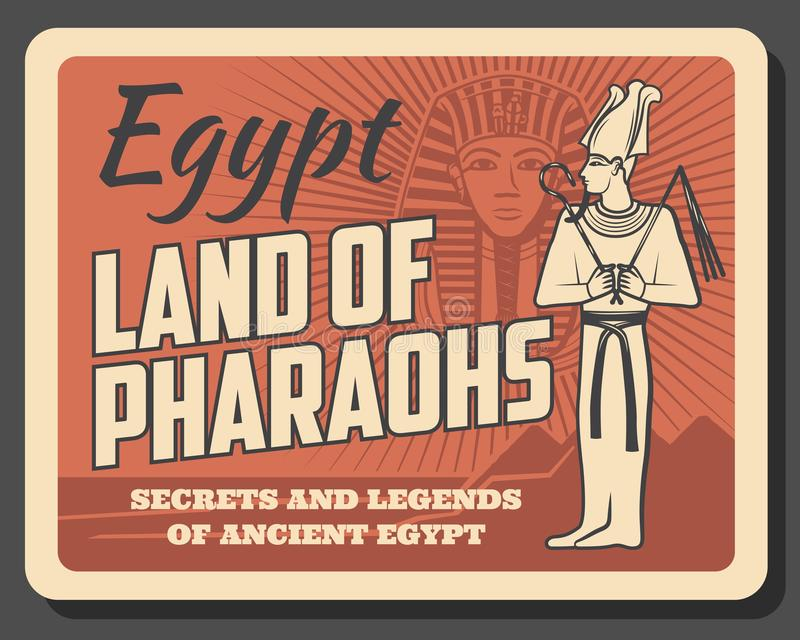 Tutankhamun death mask, Egypt land of pharaohs. Egypt pharaohs Tutankhamun, retro vector style. Egyptian god with pectoral belonging in long robe. Tutankhamuns stock illustration