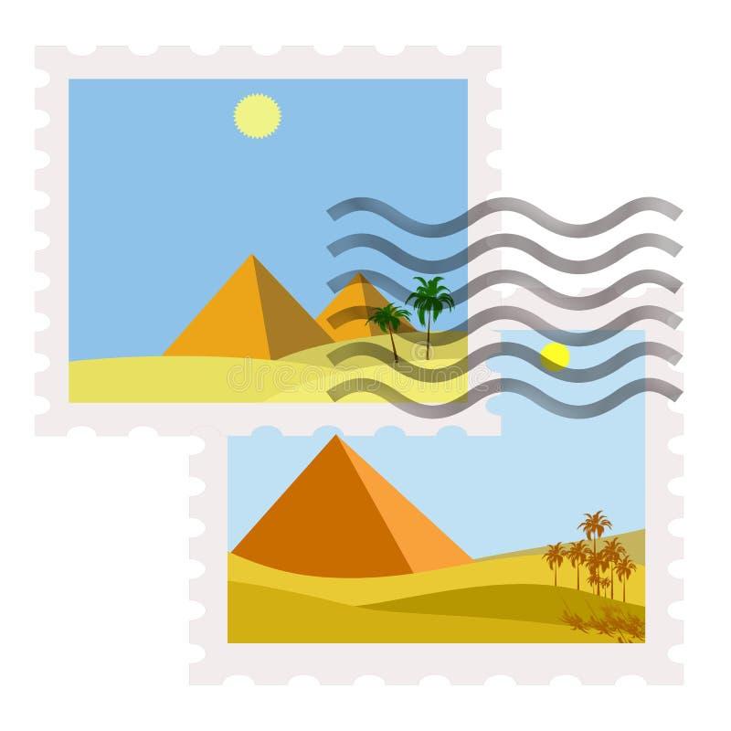 egypt portostämplar royaltyfri illustrationer