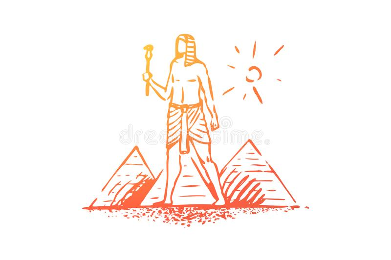 Egypt, pyramid, sphinx, ancient, desert concept. Hand drawn isolated vector. royalty free illustration