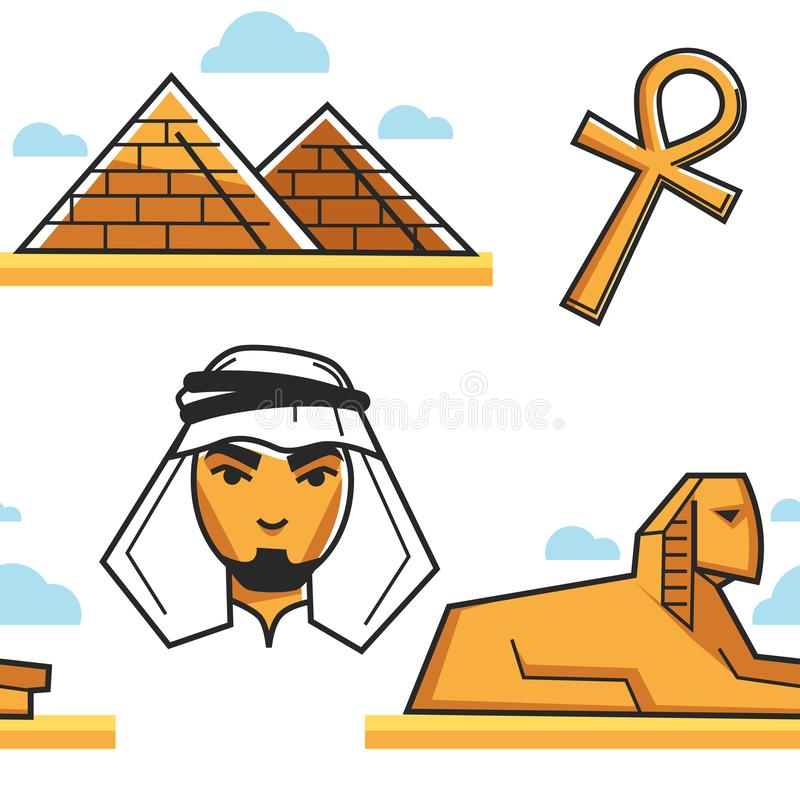 Egypt Pyramid and Sphinx Bedouin and coptic cross seamless pattern. Pyramid and Sphinx Bedouin and coptic cross seamless pattern vector Egypt travel buildings or royalty free illustration