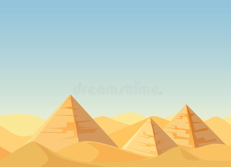 Egypt Pyramids desert landscape cartoon flat vector Illustration. stock illustration