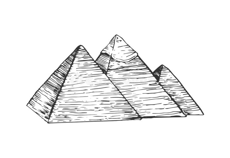 Egypt pyramids illustration. Egypt pyramids in flat style isolated on white background vector illustration
