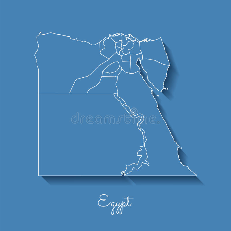 Egypt region map: blue with white outline and. royalty free illustration