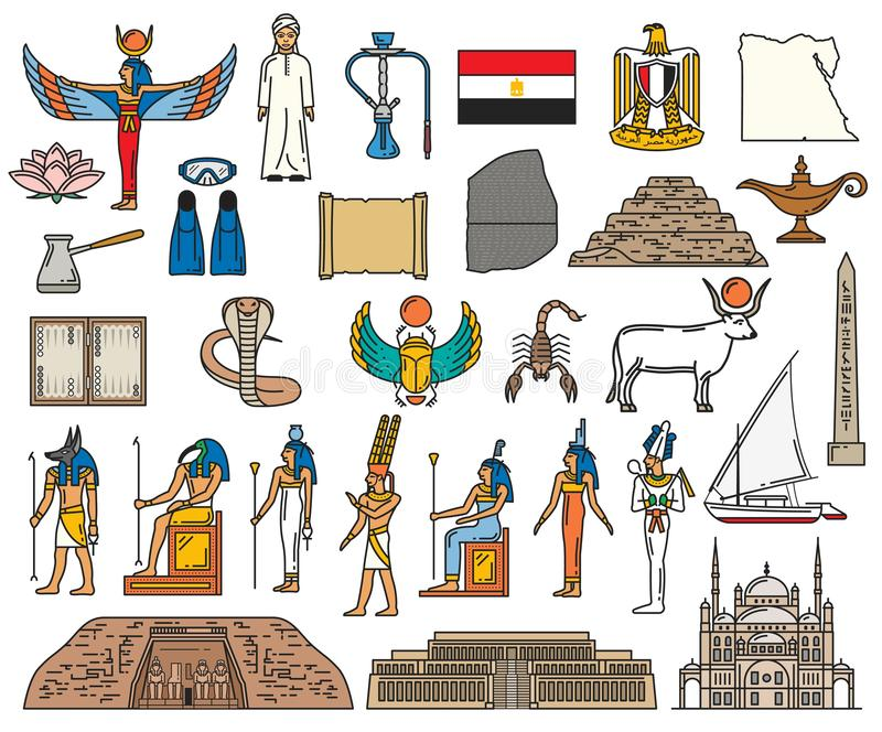 Egypt religious sacred symbols and ancient deity. Ancient Egypt religious symbols and sacred gods. Vector Egyptian culture and history pyramid, Amon or Anubis stock illustration