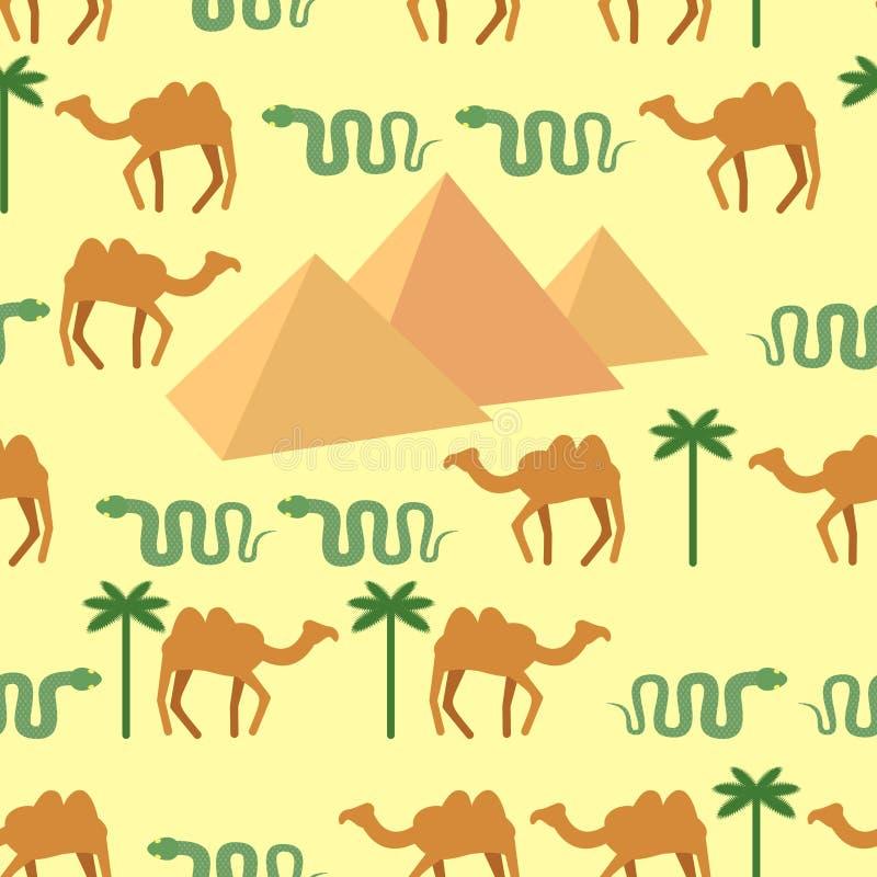 egypt Sömlösa modelltecken av Egypten: pyramider och kamel royaltyfri illustrationer