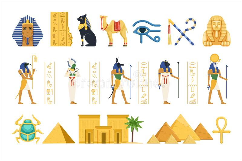 Egypt set, Egyptian ancient symbols of the power of pharaohs and gods colorful vector Illustrations. On a white background stock illustration