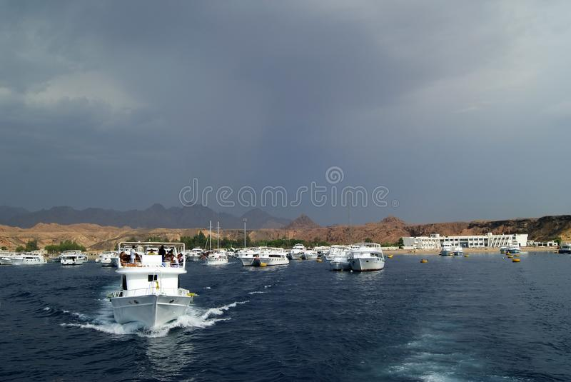 EGYPT, SHARM EL SHEIKH - SEPTEMBER 21, 2010: tourist yachts go to the sea stock photo